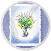 Botanical Impressionism Watercolor Bouquet Round Beach Towel