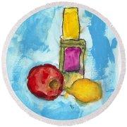Bottle Apple And Lemon Round Beach Towel