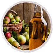 Bottled Cider With Apples Round Beach Towel