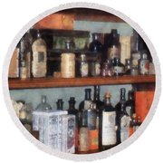 Bottles In General Store Round Beach Towel