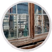 Bottles In The Window Round Beach Towel by Cat Connor