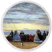 Boudin's The Beach At Villerville Round Beach Towel