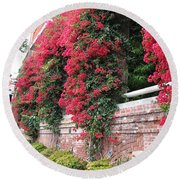 Bougainvillea Wall In San Francisco Round Beach Towel