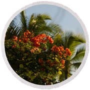 Bougainvilleas And Palm Trees Swaying In The Wind In Waikiki Honolulu Hawaii Round Beach Towel