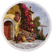 Bouganville Round Beach Towel