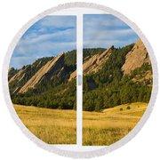 Boulder Colorado Flatirons White Window Frame Scenic View Round Beach Towel