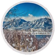 Boulder Colorado Winter Season Scenic View Round Beach Towel