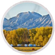 Boulder County Colorado Flatirons Autumn View Round Beach Towel