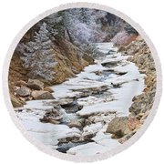 Boulder Creek Frosted Snowy Portrait View Round Beach Towel