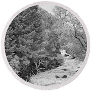 Boulder Creek Winter Wonderland Black And White Round Beach Towel
