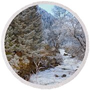Boulder Creek Winter Wonderland Round Beach Towel