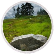 Boulder On The Shore At The Mount Desert Narrows In Maine Round Beach Towel