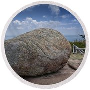 Boulder On Top Of Cadilac Mountain In Acadia National Park Round Beach Towel