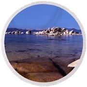 Boulders At The Coast, Lake Tahoe Round Beach Towel