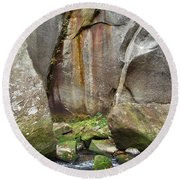 Boulders By The River 2 Round Beach Towel