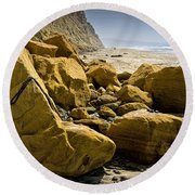 Boulders On The Beach At Torrey Pines State Beach Round Beach Towel