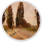 Boulevard Of Poplars Near Plankenberg Round Beach Towel