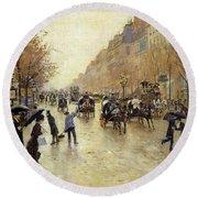 Boulevard Poissonniere In The Rain, C.1885 Oil On Canvas Round Beach Towel