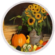 Bountiful Harvest - Floral Painting Round Beach Towel
