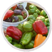 Bountiful Peppers Round Beach Towel
