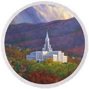 Bountiful Temple In The Mountains Round Beach Towel