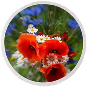 Bouquet Of Fresh Poppies Camomiles And Cornflowers Round Beach Towel