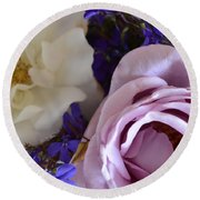 Roses And Violets  Round Beach Towel