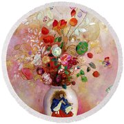 Bouquet Of Flowers In A Japanese Vase Round Beach Towel by Odilon Redon