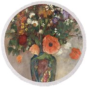 Bouquet Of Flowers In A Vase Round Beach Towel by Odilon Redon