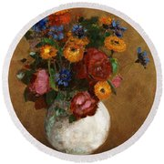 Bouquet Of Flowers In A White Vase Round Beach Towel