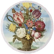 Bouquet Of Flowers On A Ledge Round Beach Towel