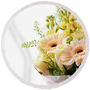 Bouquet Of Flowers On White Background Round Beach Towel