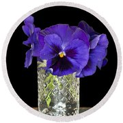 Bouquet Of Flowers Pansies Round Beach Towel