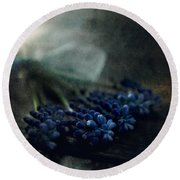 Bouquet Of Grape Hyiacints On The Dark Textured Surface Round Beach Towel