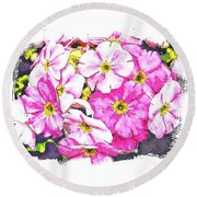 Bouquet Of Pink Round Beach Towel