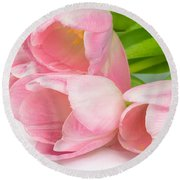 Bouquet Of Pink Tulips. Round Beach Towel
