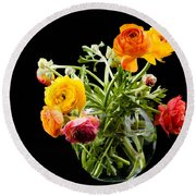 Bouquet Of Ranunculus Round Beach Towel