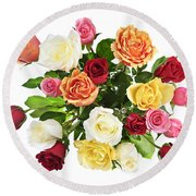 Bouquet Of Roses From Above Round Beach Towel
