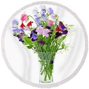 Bouquet Of Sweet Pea Flowers Round Beach Towel