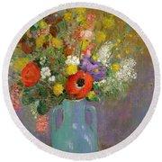 Bouquet Of Wild Flowers  Round Beach Towel by Odilon Redon