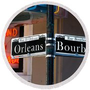 Bourbon And Orleans Round Beach Towel