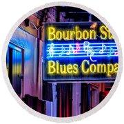 Bourbon Street Blues Round Beach Towel