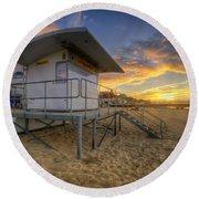 Bournemouth Beach Sunrise Round Beach Towel