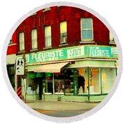 Boutique Fleuriste Coin Vert St Henri Flower Shop Notre Dame Montreal Urban Scenes Carole Spandau  Round Beach Towel