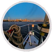 Bow And The Needle Round Beach Towel