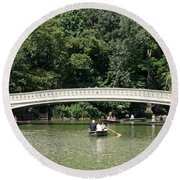 Bow Bridge And Row Boats Round Beach Towel
