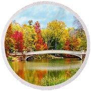 Bow Bridge Autumn In Central Park  Round Beach Towel