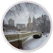 Bow Bridge Central Park In Winter  Round Beach Towel by Vivienne Gucwa