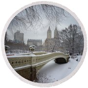 Bow Bridge Central Park In Winter  Round Beach Towel