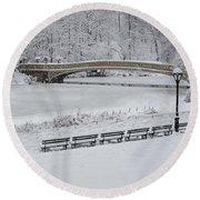 Bow Bridge Central Park Winter Wonderland Round Beach Towel